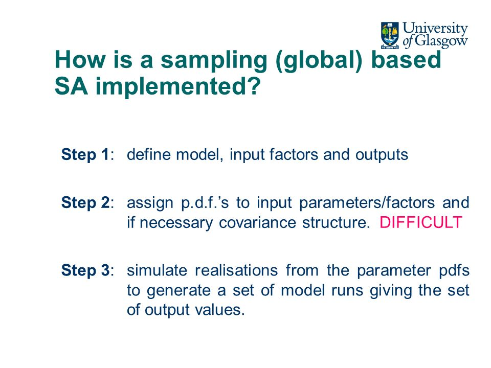 How is a sampling (global) based SA implemented.