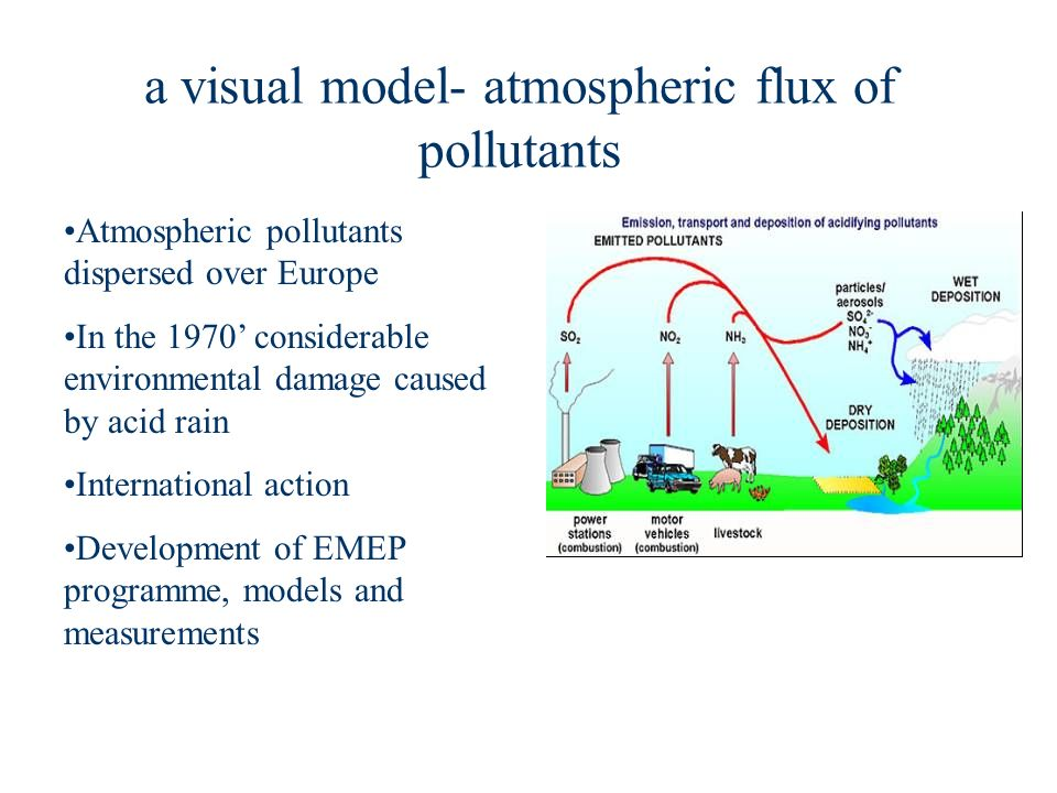 a visual model- atmospheric flux of pollutants Atmospheric pollutants dispersed over Europe In the 1970 considerable environmental damage caused by acid rain International action Development of EMEP programme, models and measurements