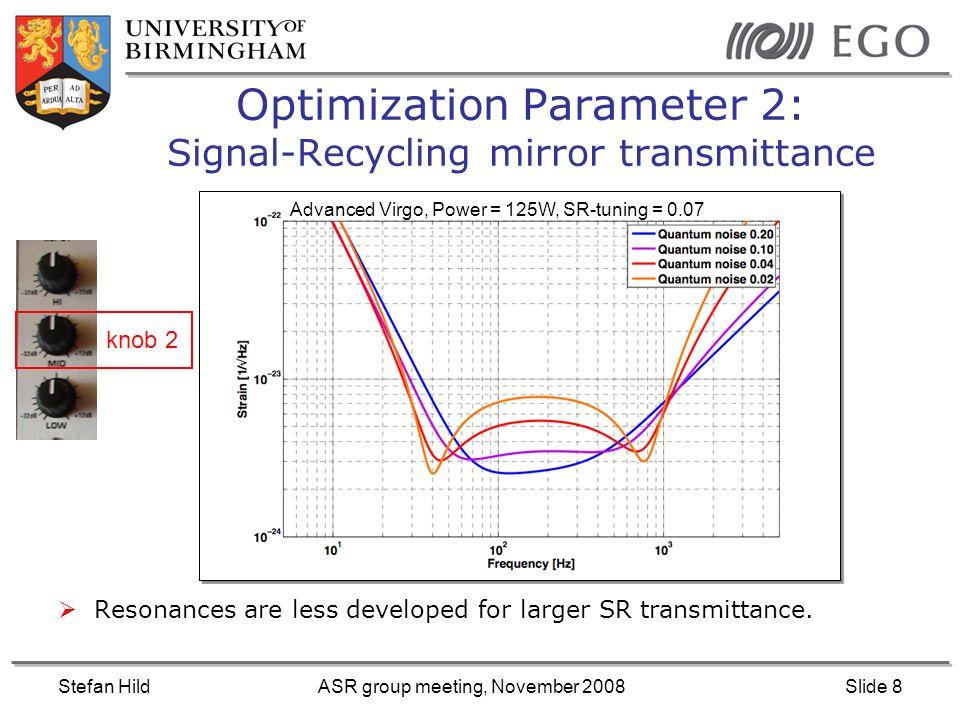 Stefan HildASR group meeting, November 2008Slide 9 Optimization Parameter 3: Laser-Input-Power Advanced Virgo, SR-tuning=0.07, SR-transmittance = 4% High frequency sensitivity improves with higher power (Shotnoise) Low frequency sensitivity decreases with higher power (Radiation pressure noise) knob 3