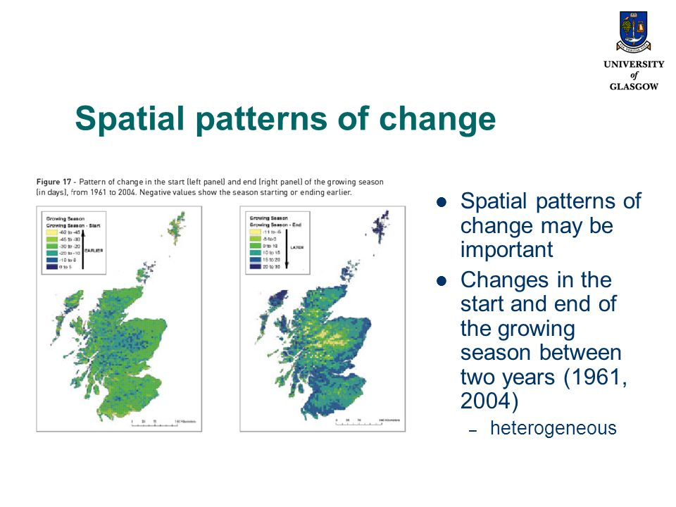 Spatial patterns of change Spatial patterns of change may be important Changes in the start and end of the growing season between two years (1961, 2004) – heterogeneous
