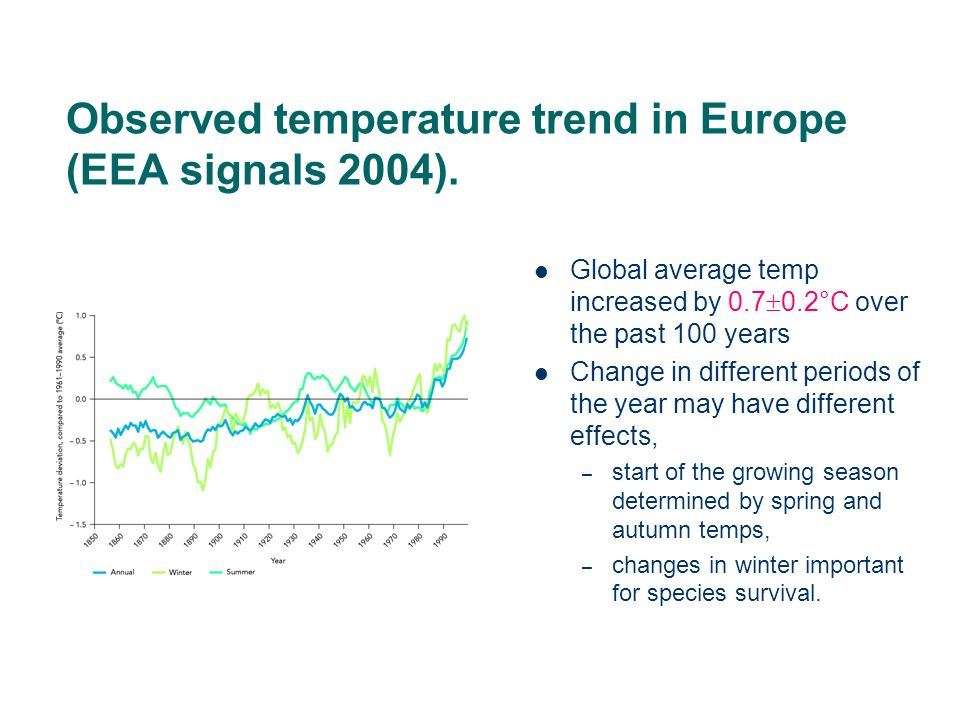 Example: trends in atmospheric SO 2 levels over space- EMEP network Daily measurements made at more than 100 monitoring stations over a 20 year period over Europe: Complex statistical model developed to describe the pattern, the model portions the variation to trend, seasonality, residual variation and to include changepoints Main question: – what is the long term trend and is it the same over Europe?