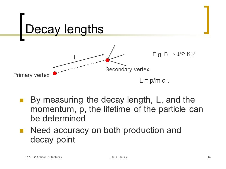 PPE S/C detector lecturesDr R. Bates14 Decay lengths By measuring the decay length, L, and the momentum, p, the lifetime of the particle can be determ