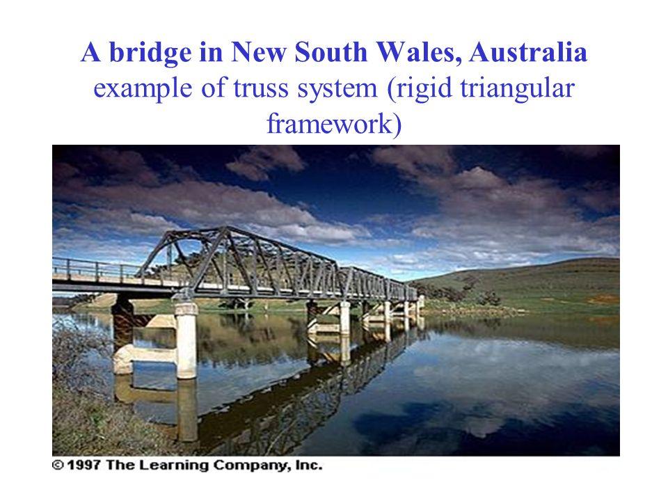 A bridge in New South Wales, Australia example of truss system (rigid triangular framework)