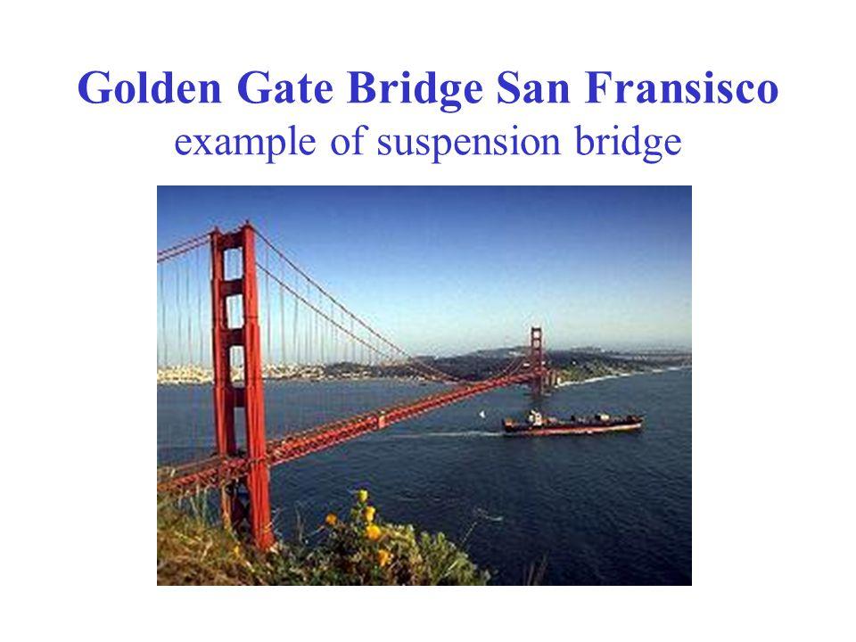 Golden Gate Bridge San Fransisco example of suspension bridge