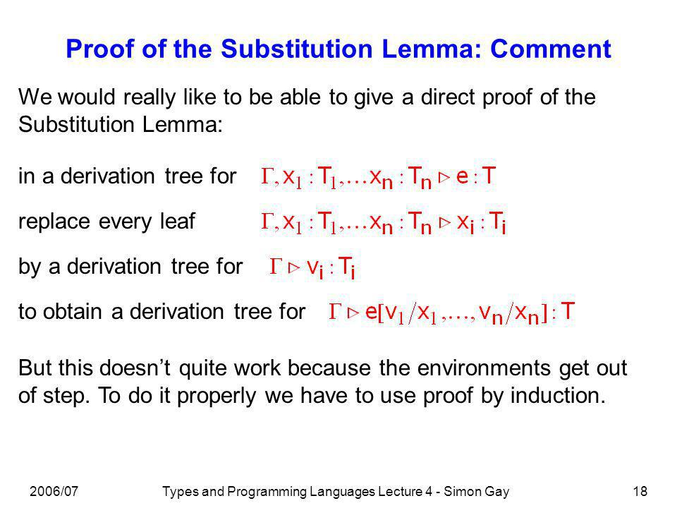 2006/07Types and Programming Languages Lecture 4 - Simon Gay18 Proof of the Substitution Lemma: Comment We would really like to be able to give a direct proof of the Substitution Lemma: in a derivation tree for replace every leaf by a derivation tree for to obtain a derivation tree for But this doesnt quite work because the environments get out of step.