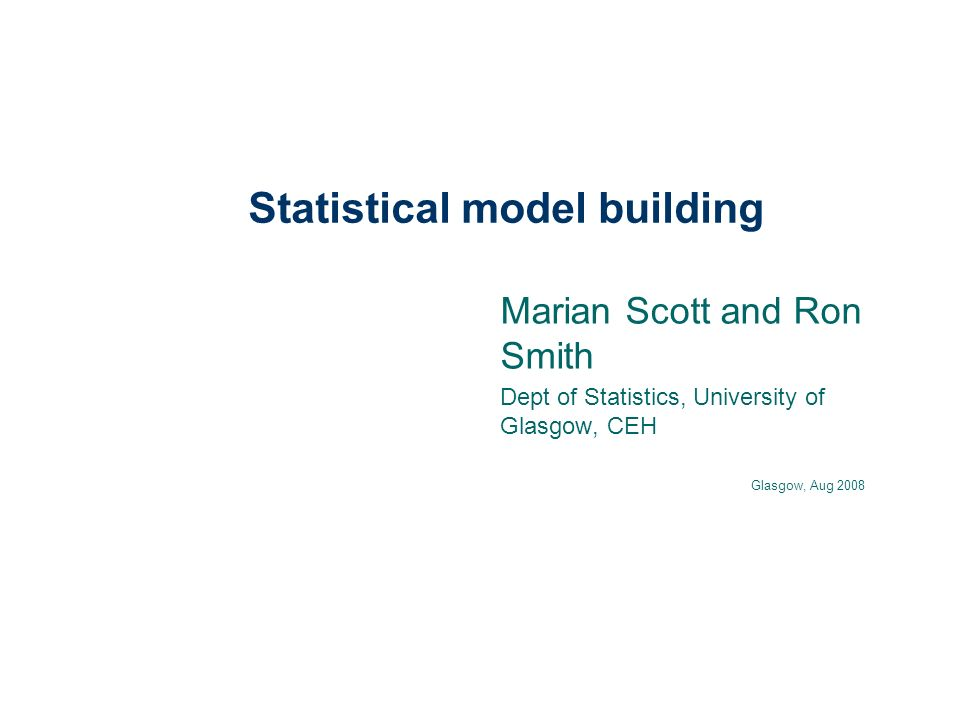 Outline of presentation Statistical models- what are the principles – describing variation – empiricism Fitting models- calibration Testing models- validation or verification Quantifying and apportioning variation in model and data.