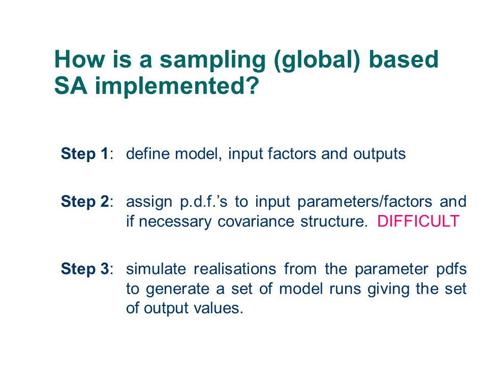 How is a sampling (global) based SA implemented? Step 1:define model, input factors and outputs Step 2:assign p.d.f.s to input parameters/factors and