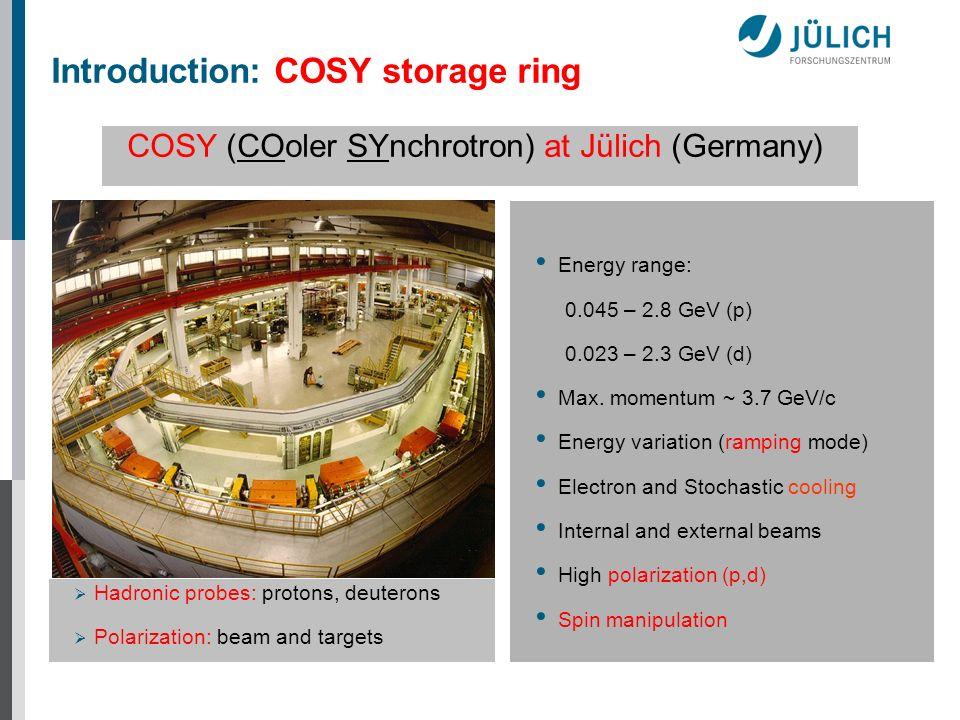 Energy range: 0.045 – 2.8 GeV (p) 0.023 – 2.3 GeV (d) Max. momentum ~ 3.7 GeV/c Energy variation (ramping mode) Electron and Stochastic cooling Intern