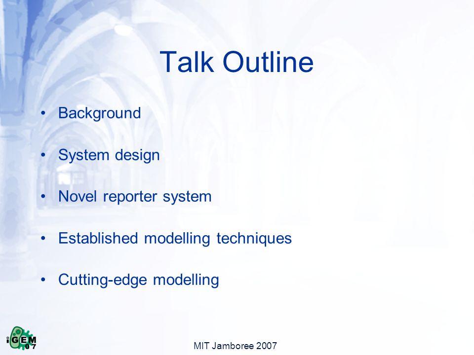 Talk Outline Background System design Novel reporter system Established modelling techniques Cutting-edge modelling