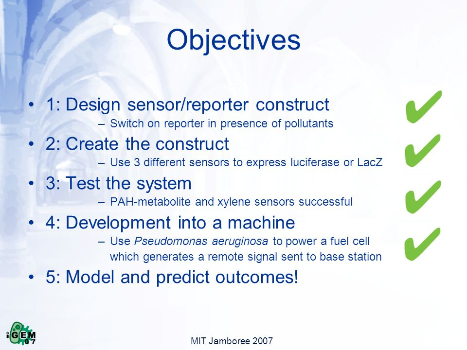 MIT Jamboree 2007 1: Design sensor/reporter construct –Switch on reporter in presence of pollutants 2: Create the construct –Use 3 different sensors to express luciferase or LacZ 3: Test the system –PAH-metabolite and xylene sensors successful 4: Development into a machine –Use Pseudomonas aeruginosa to power a fuel cell which generates a remote signal sent to base station 5: Model and predict outcomes.