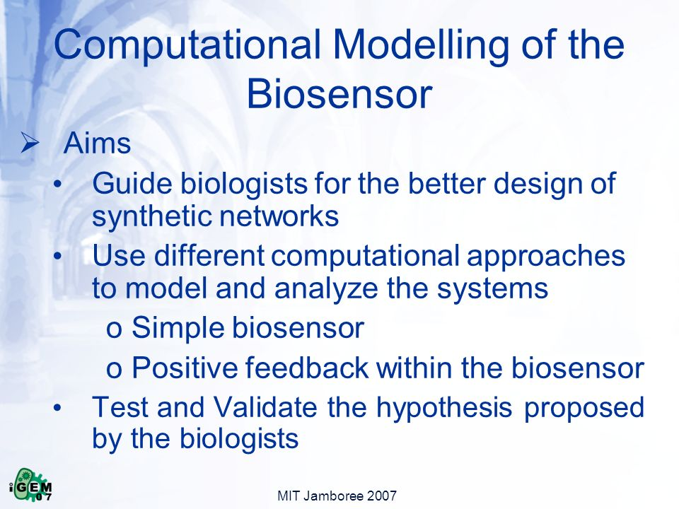 MIT Jamboree 2007 Computational Modelling of the Biosensor Aims Guide biologists for the better design of synthetic networks Use different computational approaches to model and analyze the systems o Simple biosensor o Positive feedback within the biosensor Test and Validate the hypothesis proposed by the biologists