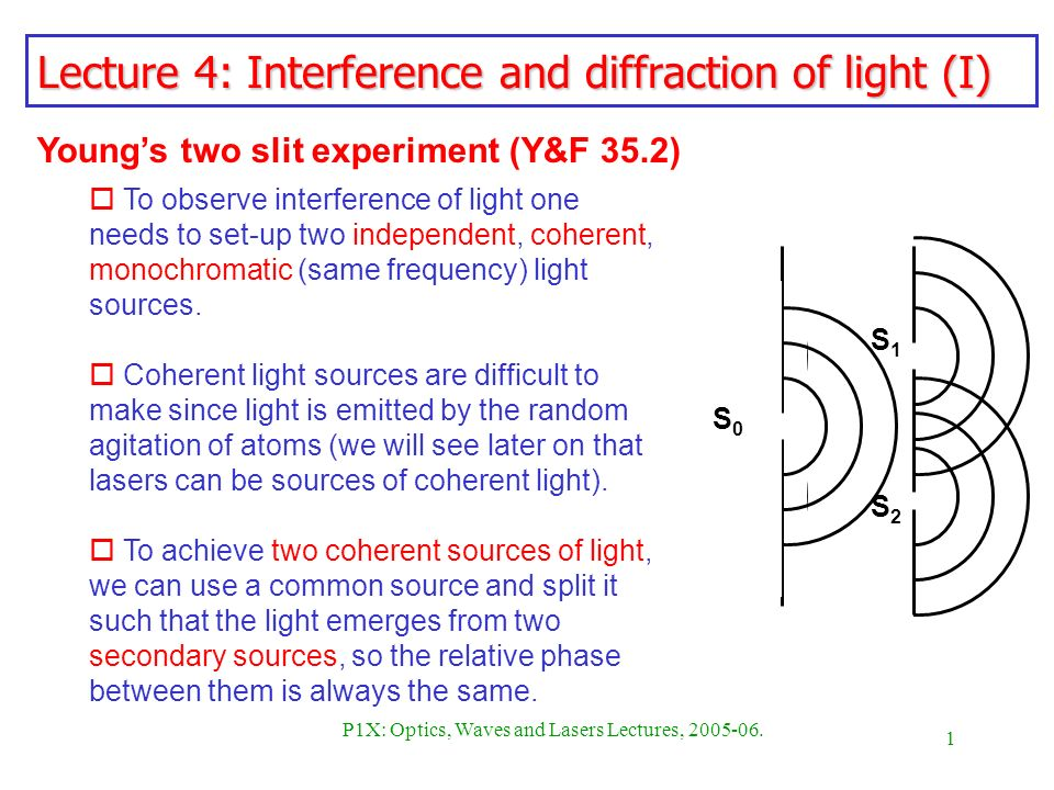 1 P1X: Optics, Waves and Lasers Lectures, 2005-06. Lecture 4: Interference and diffraction of light (I) Youngs two slit experiment (Y&F 35.2) o To obs