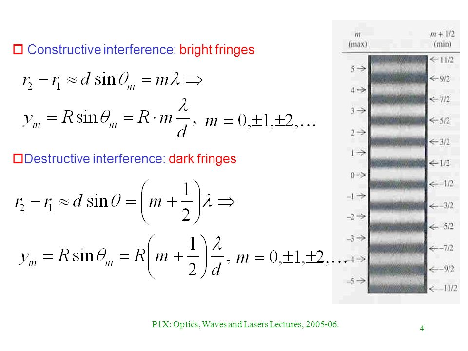 4 P1X: Optics, Waves and Lasers Lectures, 2005-06. o Constructive interference: bright fringes oDestructive interference: dark fringes