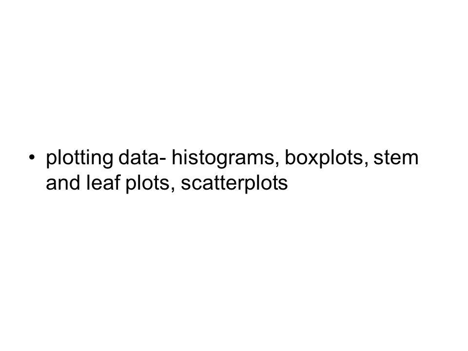 plotting data- histograms, boxplots, stem and leaf plots, scatterplots