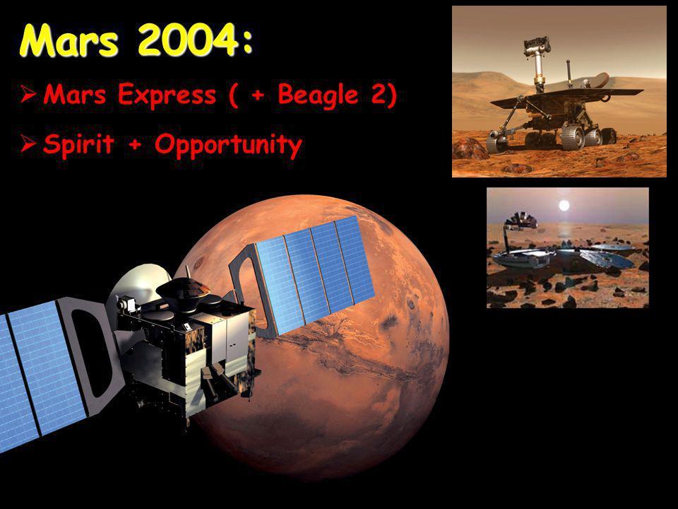 Mars 2004: Mars Express ( + Beagle 2) Spirit + Opportunity