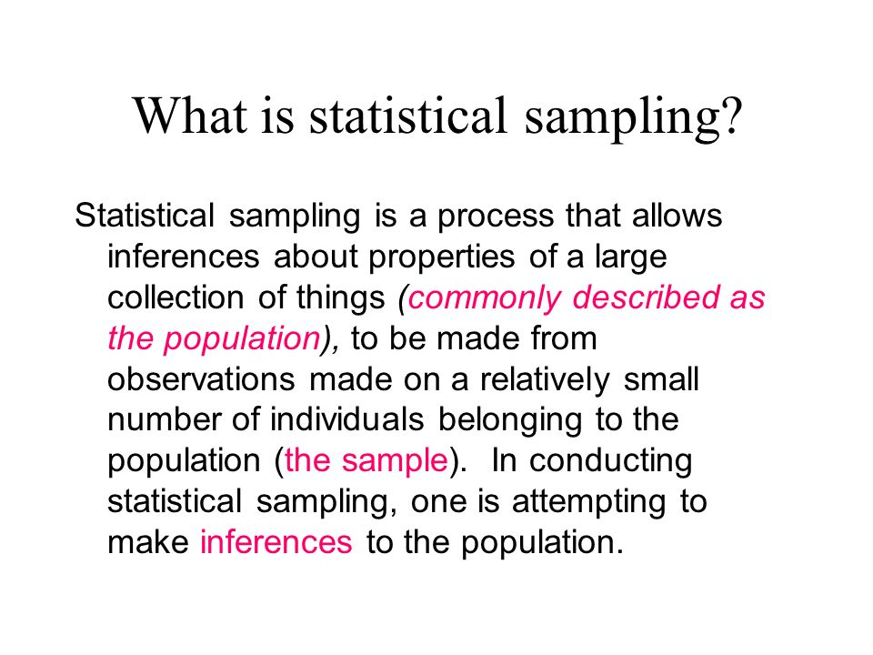 What is statistical sampling.