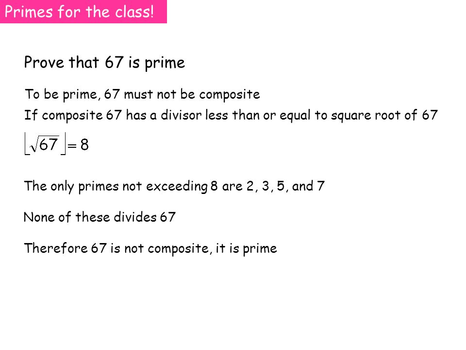 Primes for the class.