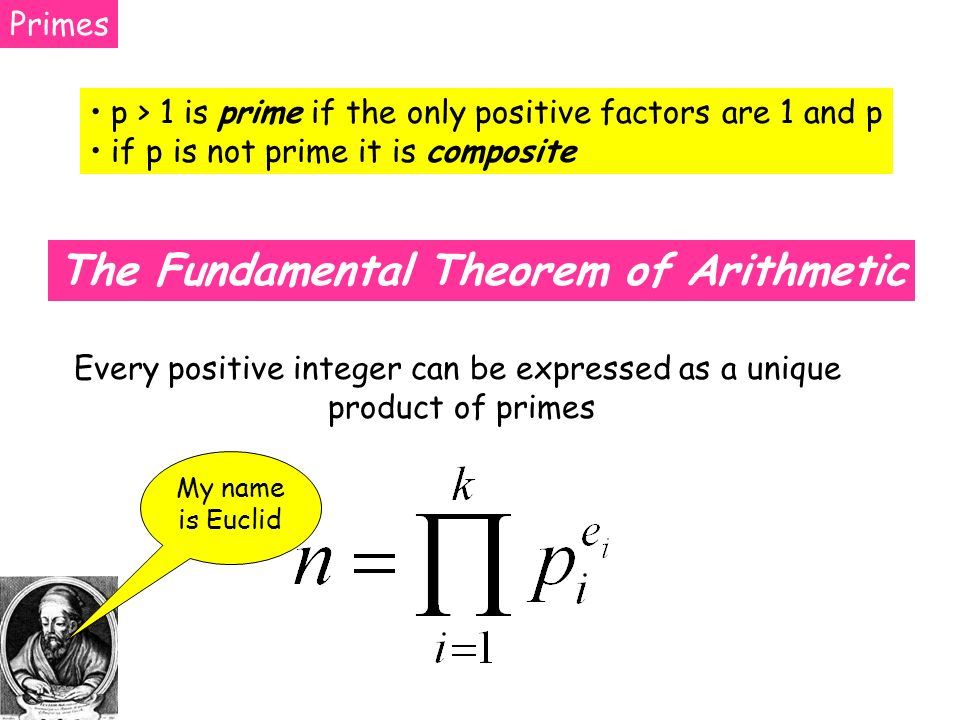 Primes p > 1 is prime if the only positive factors are 1 and p if p is not prime it is composite The Fundamental Theorem of Arithmetic Every positive integer can be expressed as a unique product of primes My name is Euclid