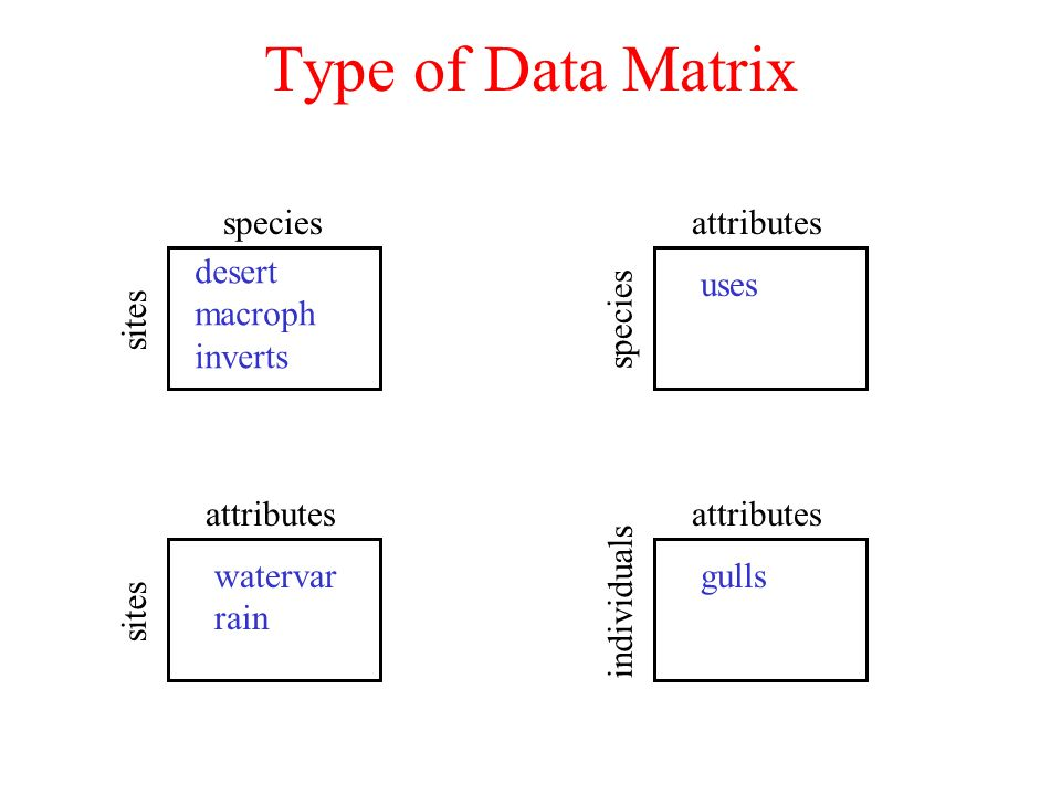 Type of Data Matrix species sites attributes species attributes sites attributes individuals desert macroph inverts uses watervar rain gulls
