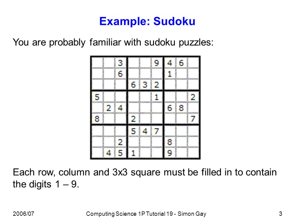 2006/07Computing Science 1P Tutorial 19 - Simon Gay3 Example: Sudoku You are probably familiar with sudoku puzzles: Each row, column and 3x3 square must be filled in to contain the digits 1 – 9.