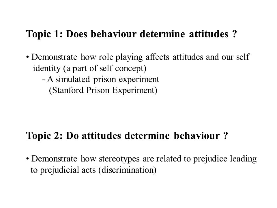 Topic 1: Does behaviour determine attitudes ? Demonstrate how role playing affects attitudes and our self identity (a part of self concept) - A simula