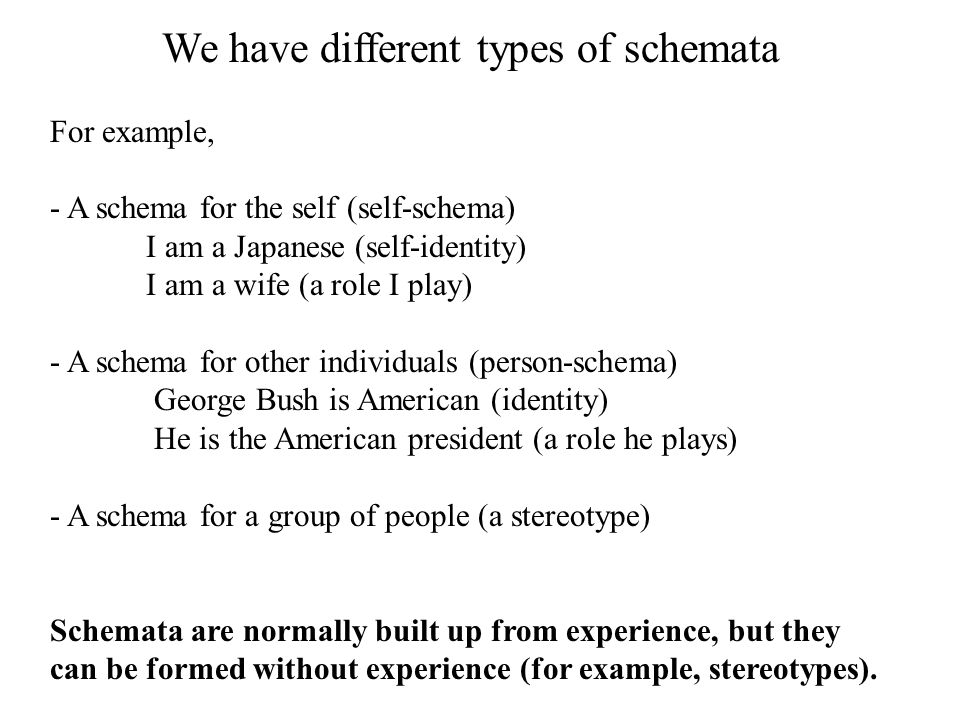 We have different types of schemata For example, - A schema for the self (self-schema) I am a Japanese (self-identity) I am a wife (a role I play) - A
