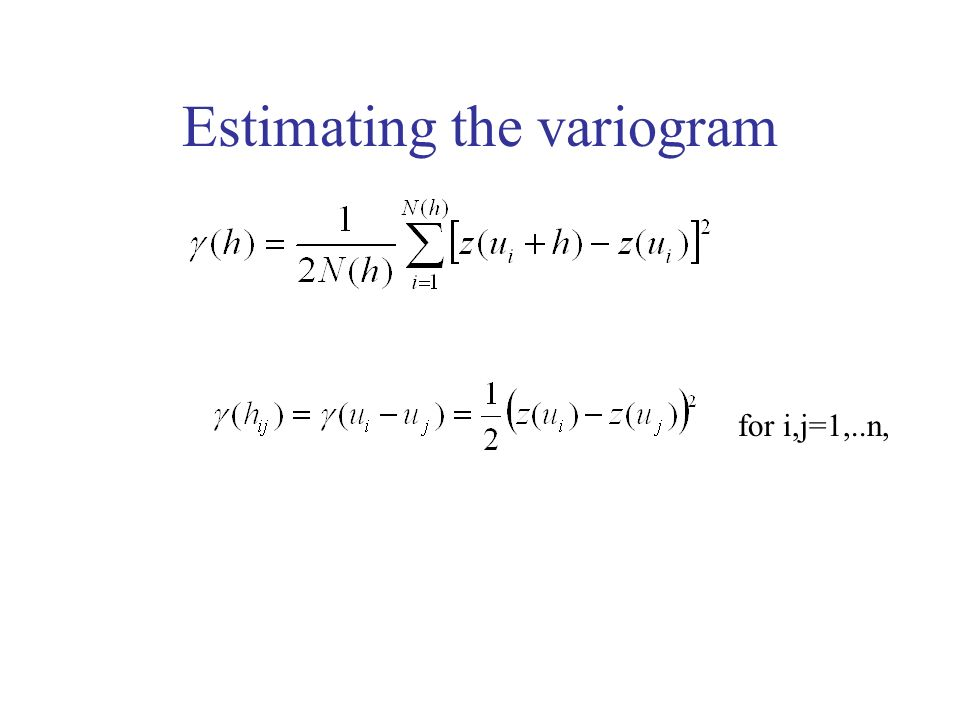 Estimating the variogram for i,j=1,..n,