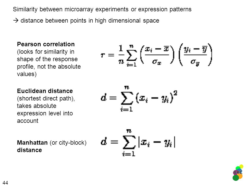 44 Similarity between microarray experiments or expression patterns distance between points in high dimensional space Pearson correlation (looks for s