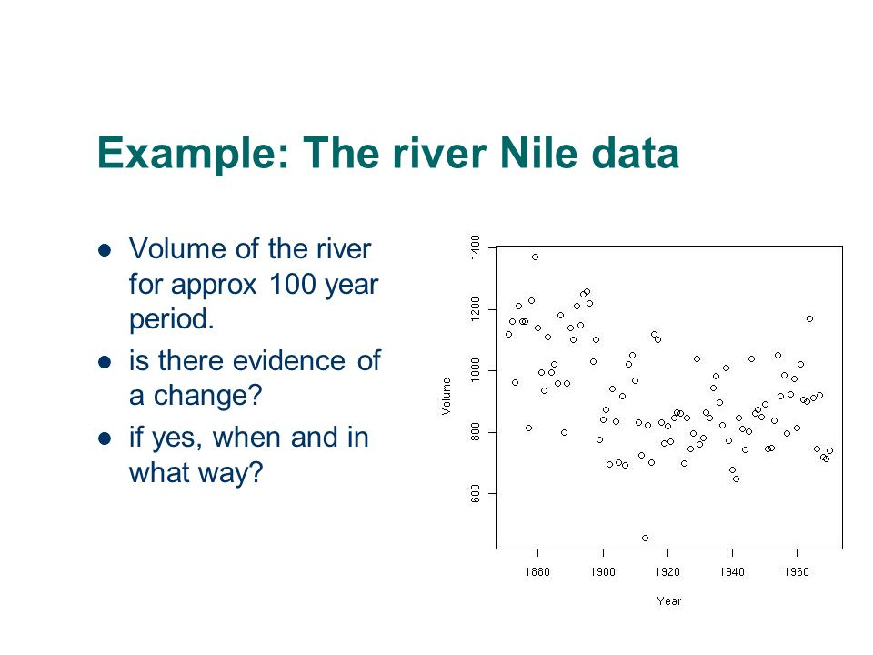 Example: The river Nile data Volume of the river for approx 100 year period. is there evidence of a change? if yes, when and in what way?