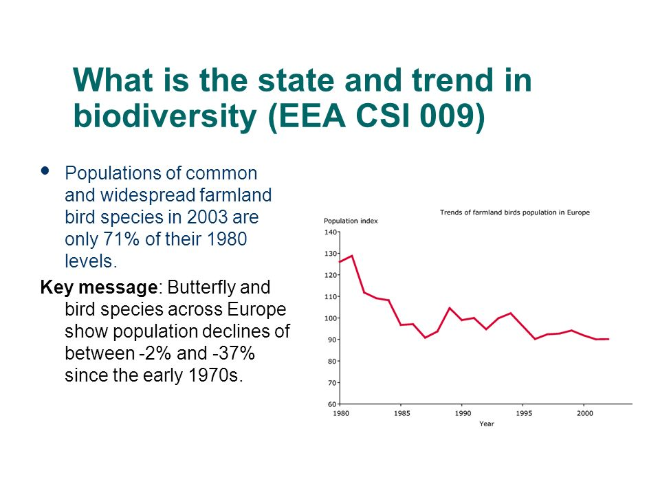 What is the state and trend in biodiversity (EEA CSI 009) Populations of common and widespread farmland bird species in 2003 are only 71% of their 198