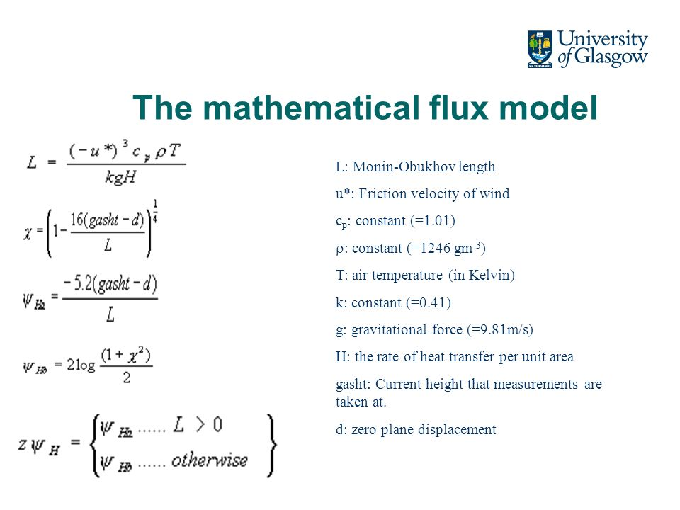 The mathematical flux model L: Monin-Obukhov length u*: Friction velocity of wind c p : constant (=1.01) : constant (=1246 gm -3 ) T: air temperature (in Kelvin) k: constant (=0.41) g: gravitational force (=9.81m/s) H: the rate of heat transfer per unit area gasht: Current height that measurements are taken at.