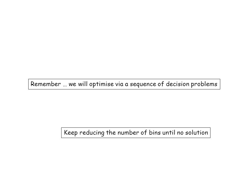 Remember … we will optimise via a sequence of decision problems Keep reducing the number of bins until no solution