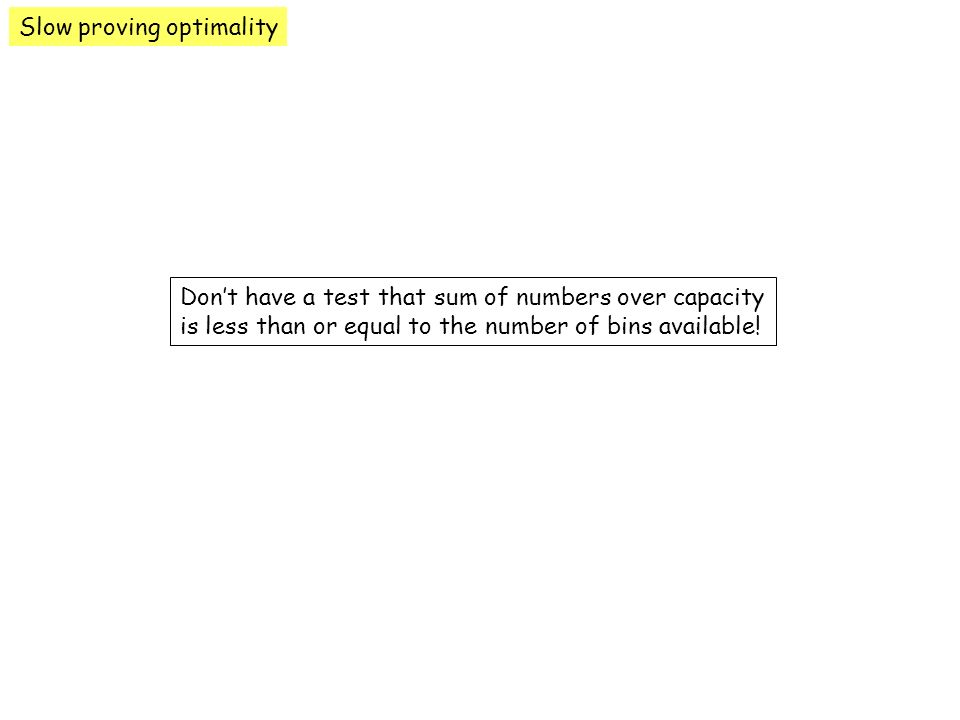 Slow proving optimality Dont have a test that sum of numbers over capacity is less than or equal to the number of bins available!