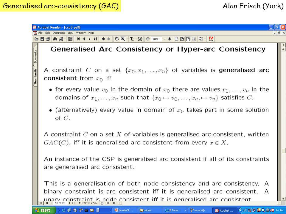 Generalised arc-consistency (GAC)Alan Frisch (York)