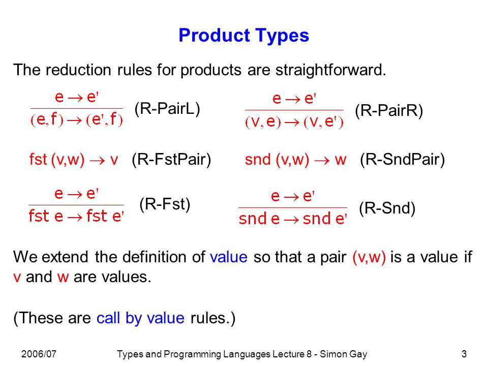2006/07Types and Programming Languages Lecture 8 - Simon Gay14 Programming with Sum Types Example fun message(x:info):string = case x of Staff(y) => staff member | Student(y) => student | Parent(y) => parent message(Staff(Simon)) * staff member