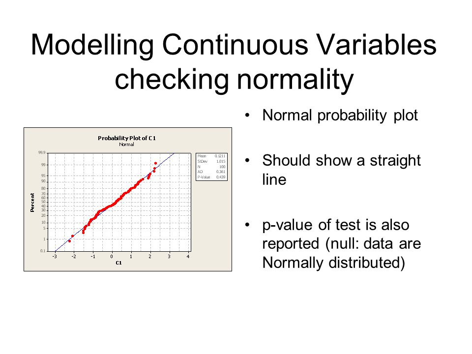 Modelling Continuous Variables checking normality Normal probability plot Should show a straight line p-value of test is also reported (null: data are