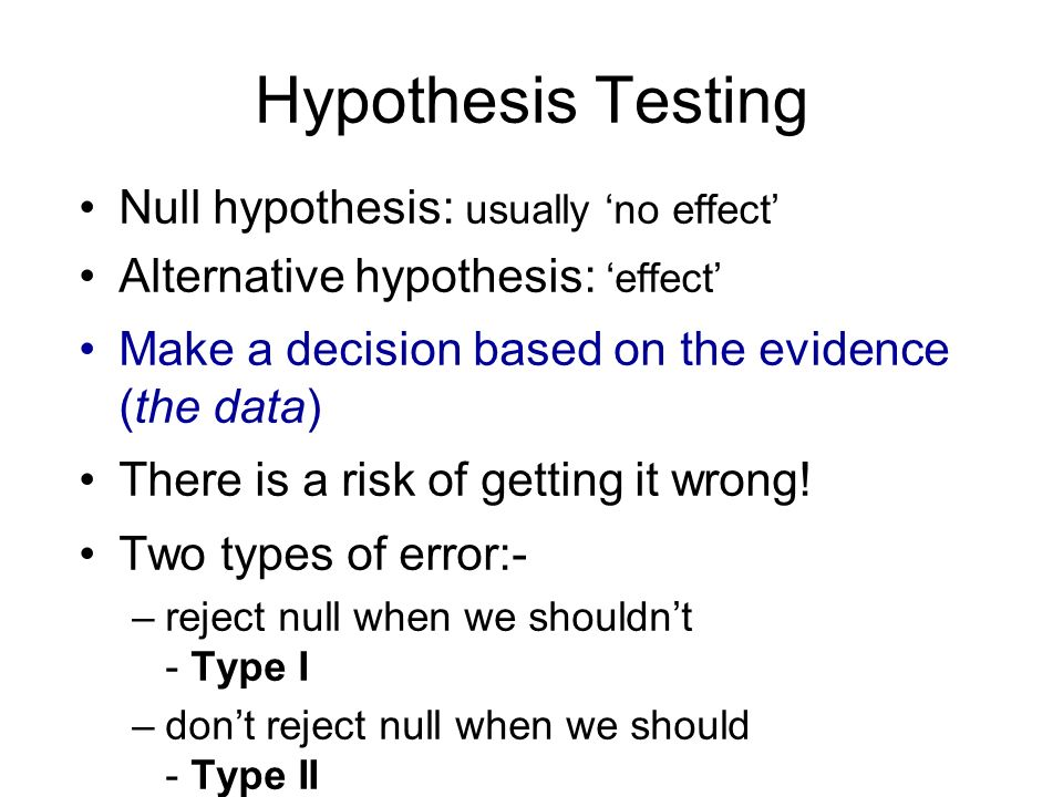 Hypothesis Testing Null hypothesis: usually no effect Alternative hypothesis: effect Make a decision based on the evidence (the data) There is a risk