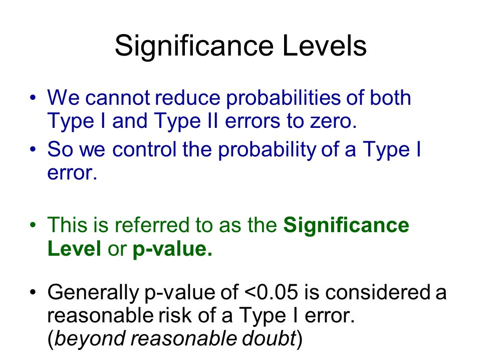 Significance Levels We cannot reduce probabilities of both Type I and Type II errors to zero. So we control the probability of a Type I error. This is