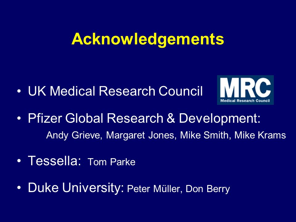 Acknowledgements UK Medical Research Council Pfizer Global Research & Development: Andy Grieve, Margaret Jones, Mike Smith, Mike Krams Tessella: Tom Parke Duke University: Peter Müller, Don Berry