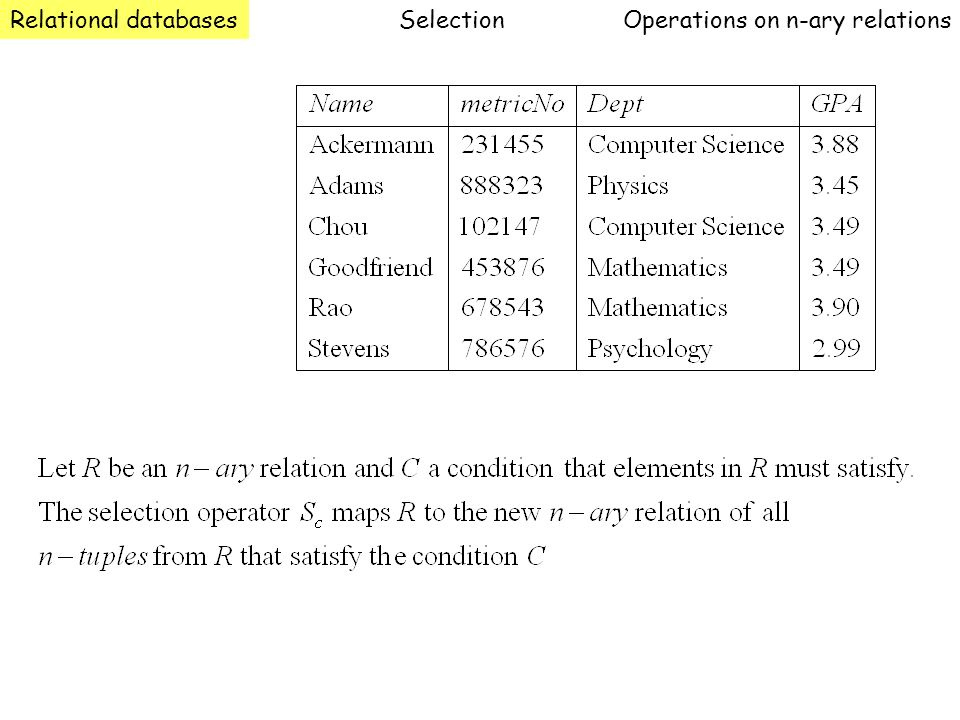 Relational databasesOperations on n-ary relationsSelection