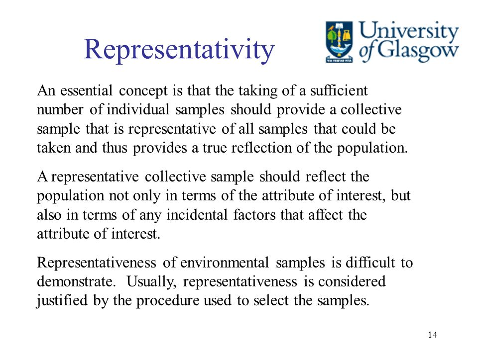 14 Representativity An essential concept is that the taking of a sufficient number of individual samples should provide a collective sample that is re