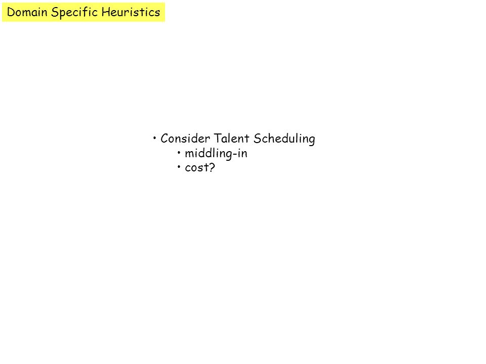 Domain Specific Heuristics Consider Talent Scheduling middling-in cost?