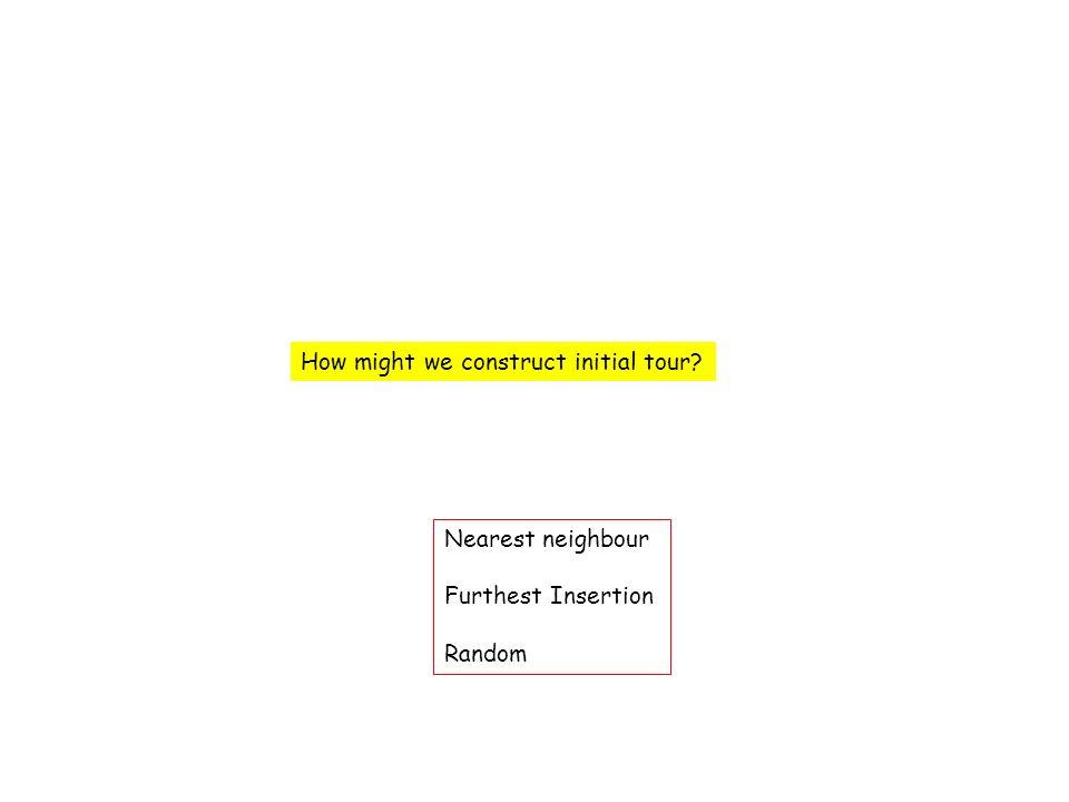 How might we construct initial tour Nearest neighbour Furthest Insertion Random