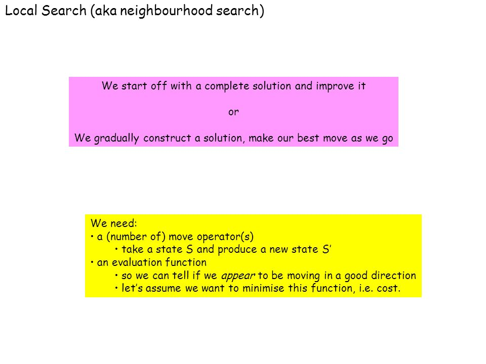 Local Search (aka neighbourhood search) We start off with a complete solution and improve it or We gradually construct a solution, make our best move as we go We need: a (number of) move operator(s) take a state S and produce a new state S an evaluation function so we can tell if we appear to be moving in a good direction lets assume we want to minimise this function, i.e.