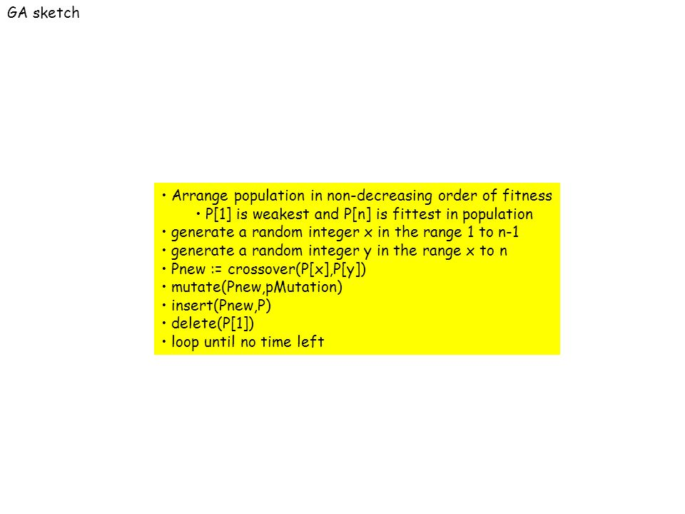 Arrange population in non-decreasing order of fitness P[1] is weakest and P[n] is fittest in population generate a random integer x in the range 1 to n-1 generate a random integer y in the range x to n Pnew := crossover(P[x],P[y]) mutate(Pnew,pMutation) insert(Pnew,P) delete(P[1]) loop until no time left GA sketch
