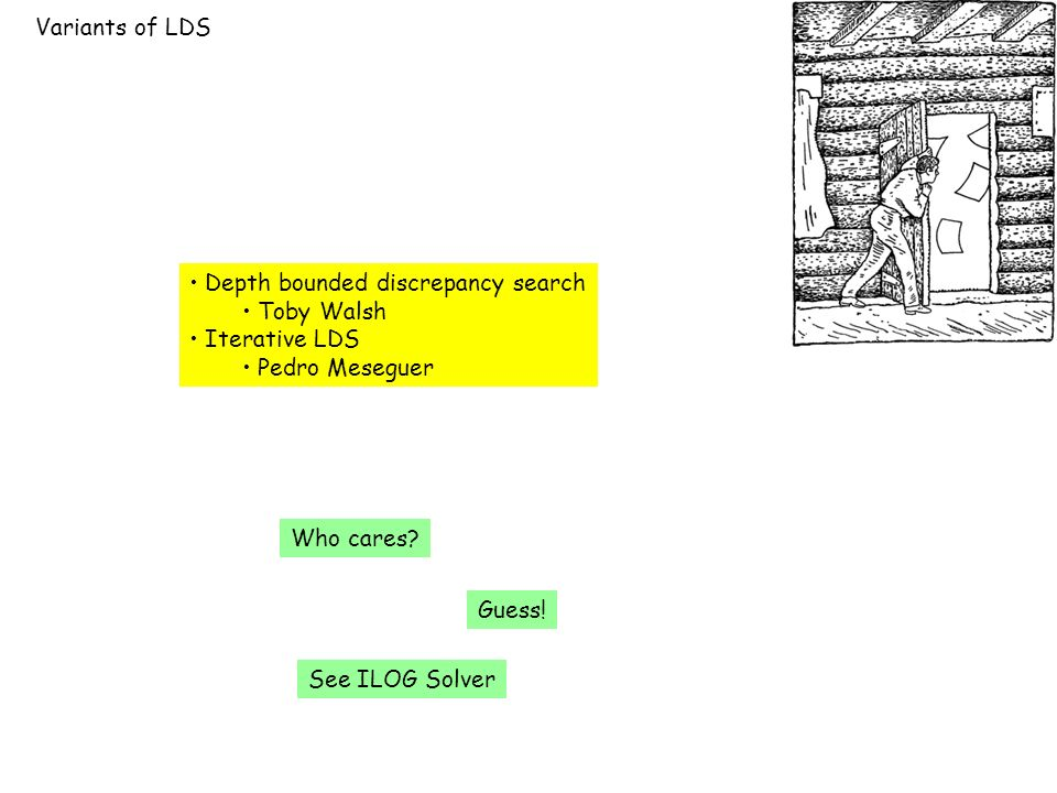 Variants of LDS Depth bounded discrepancy search Toby Walsh Iterative LDS Pedro Meseguer Who cares.