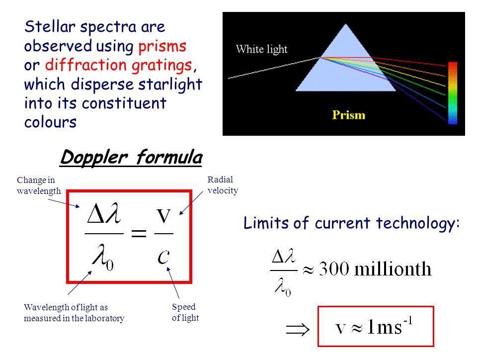 Doppler formula Wavelength of light as measured in the laboratory Change in wavelength Radial velocity Speed of light