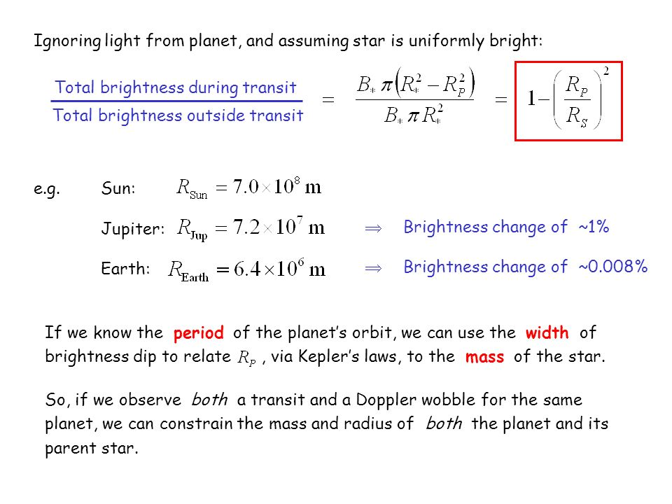 Ignoring light from planet, and assuming star is uniformly bright: Total brightness during transit e.g.Sun: Jupiter: Earth: Total brightness outside t