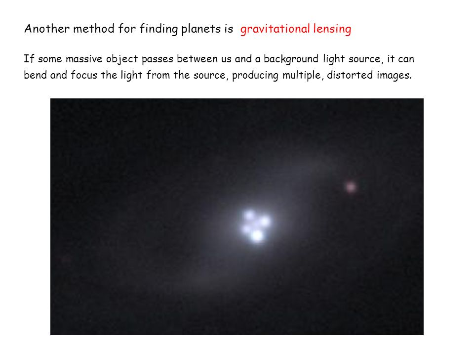 Another method for finding planets is gravitational lensing If some massive object passes between us and a background light source, it can bend and fo