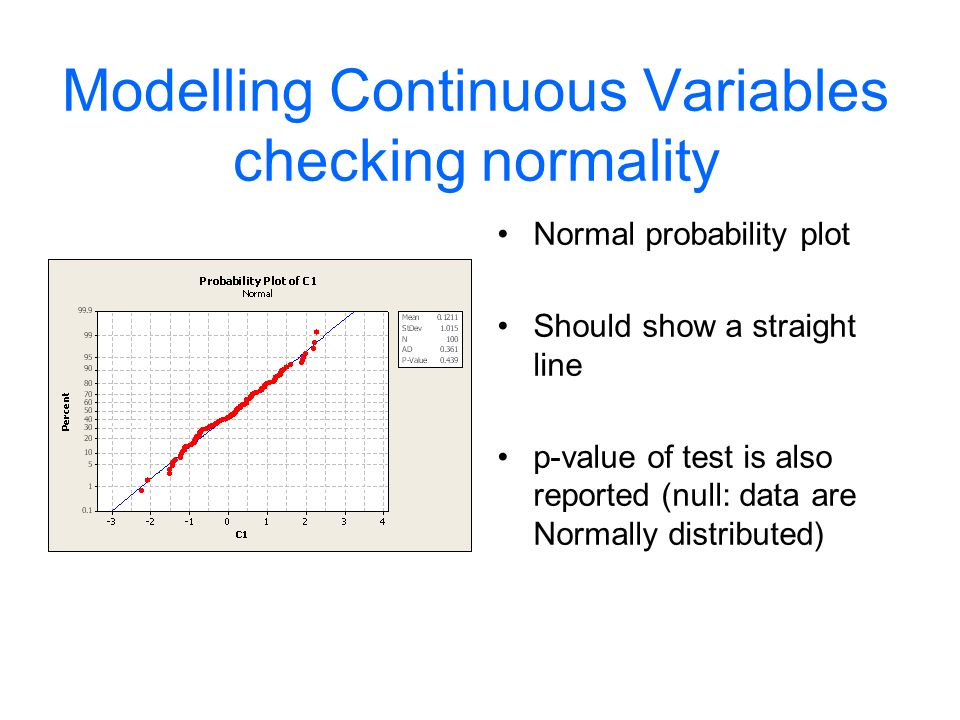 Modelling Continuous Variables checking normality Normal probability plot Should show a straight line p-value of test is also reported (null: data are Normally distributed)
